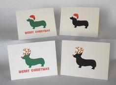 Corgi Dog Christmas Cards Set of 4. $9.99, via Etsy.