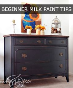 Painted Dresser with MMS Milk Paint in Typewriter. Tips for painting with milk paint. Milk Paint Furniture, Old Furniture, Distressed Furniture, Refurbished Furniture, Repurposed Furniture, Furniture Projects, Furniture Making, Furniture Makeover, Painted Furniture