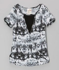 Another great find on #zulily! Gray & Black Ink Blot Wrap Tunic - Girls #zulilyfinds