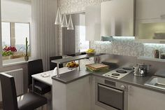 Дизайн интерьера кухни с барной стойкой: совмещенной с гостиной, студии, угловой, кухни столовой. Кухни разного размера: маленькие, 10 кв м, 12 кв м, 14 кв м. Фотогалерея. | Ремонт квартиры