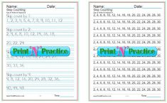 Skip counting makes learning multiplication easy. Your kids will have fun with these worksheets as they learn skip counting by Fast addition! Multiplication Worksheets, Kids Math Worksheets, Printable Worksheets, Counting By 2, Math Drills, Printing Practice, Math For Kids, Ivy, Charts