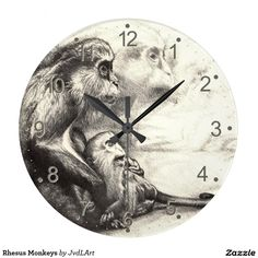 Rhesus Monkeys Wallclock