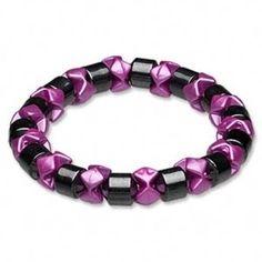Magnetic Hematite Healing Black Pink Stretch Bracelet #CascadeJewelry #Magnetic