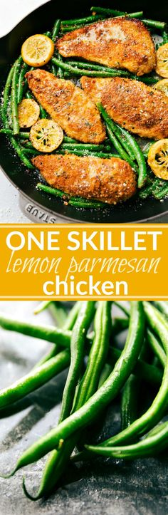 ONE SKILLET easy lemon parmesan chicken and veggies! Delicious and quick to make; 30-minute meal with little clean-up! via chelseasmessyapro...