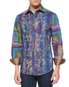 Embroidered Floral-Print Sport Shirt, Multi by Robert Graham