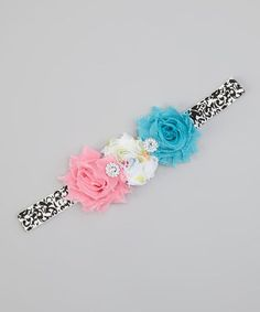 Hot Pink & Turquoise Flower Headband