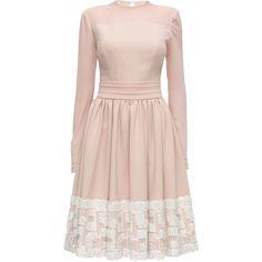 LATTORI First Kiss, Ivory Laced Chiffon Dress ($349) ❤ liked on Polyvore featuring dresses, lattori, ivory dress, pink cocktail dress, nude dress, pink dress and winter white cocktail dress