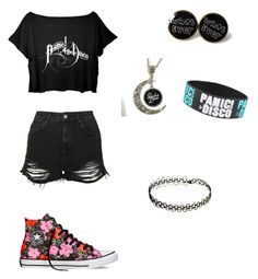 """""""Panic! At The Disco Concert Outfit"""" by youtubian4ever ❤ liked on Polyvore featuring Topshop and Converse"""