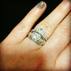 Sterling silver and CZ Claddagh engagement ring set