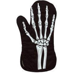 Glow in the Dark Skeleton Hand Oven Mitt ❤ liked on Polyvore featuring home, kitchen & dining, kitchen linens and cotton oven mitts