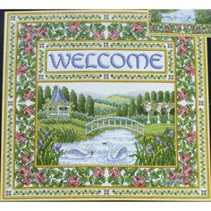 Teresa Wentzler ENGLISH GARDEN WELCOME Cross Stitch Kit Beads Swans Bridge Rose Border by NeedleLittleTherapy on Etsy