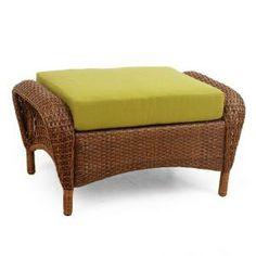 Martha Stewart Living Charlottetown 2012 Brown All-Weather Wicker Patio Ottoman with Green Bean Cushion $99