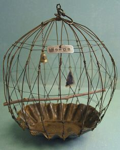 Little pie tins as a base for miniature bird cages. You could add little charms and jewels as well.