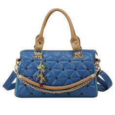 Candy Colors Quilted Pendant Chain Shoulder Messenger Bag Handbag