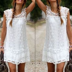 Vestidos 2016 Summer Elegant ZANZEA Women Casual Solid Short Sleeve Slim Lace Mini Dress Tops Ladies Sexy White Dress Plus Size
