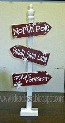 Santa workshop sign from cardboard winter candyland for Outdoor christmas signs