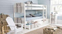 chambre ado bord de mer littoral lit superposé bois bleu blanc