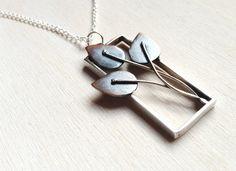 Silver rectangle pendant, handmade jewelry, Unique leaf pendant,