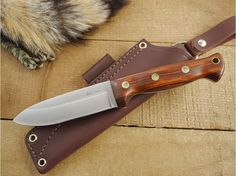 LT Wright Knives: Forest Trail (Saber Grind, Spear Point) Fixed Blade Bushcraft Knife w/ Desert Ironwood Handle - Leather Sheath - 1