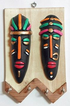 Masks of Tribal Couple on a Wooden Key Rack with Four Hooks - Wall Hanging - zoe Cardboard Mask, Cardboard Box Crafts, Clay Art Projects, Clay Crafts, Arte Tribal, Tribal Art, Wooden Key Holder, Clay Wall Art, Mask Painting