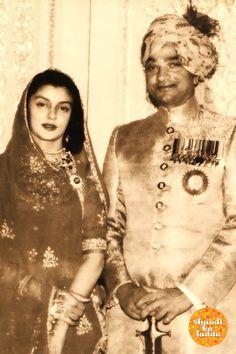 HH Maharaja Man Singhji of Jaipur with HH Maharani Gayatri Devi Ji of Jaipur. Rajmata Gayatri devi is wearing a traditional Poshaak Indian Celebrities, Bollywood Celebrities, Maharani Gayatri Devi, Royal Indian, Rajputi Dress, Indian Wedding Fashion, Royal Beauty, Vintage India, Evolution Of Fashion