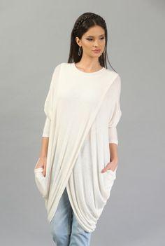 Bluza lunga ivoire B010A-M -  Ama Fashion