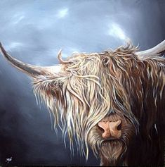 Highland Cow Painting - Highland Cow Isle Of Mull by Aaron De la Haye Highland Cow Painting, Highland Cow Art, Scottish Highland Cow, Highland Cattle, Animal Paintings, Animal Drawings, Art Drawings, La Haye, Cute Cows