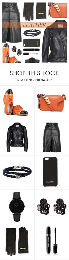 """""""Leather.."""" by rasa-j ❤ liked on Polyvore featuring Maison Margiela, Anya Hindmarch, Acne Studios, Isabel Marant, Phillip Gavriel, Balmain, CLUSE, Moschino, Marc Jacobs and leatherjackets"""