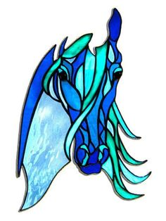 Equine in Blue is a stained glass horse show entirely in blues and teals and created by the stained glass artist at EquineArtglass.com