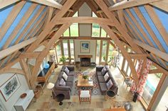 Fantastic view of the double height living space from the mezzanine study. By Roderick James Architects. Photo:http://www.humberts.com/property-to-buy/devon-axminster-ex13/hon150070/