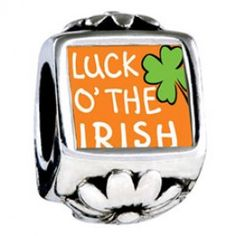 St. Patrick\'s Day Theme Photo Flower Charms With Words luck Of The Irish  Fit pandora,trollbeads,chamilia,biagi,soufeel and any customized bracelet/necklaces. #Jewelry #Fashion #Silver# handcraft #DIY #Accessory