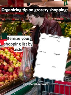 Want to save time during your grocery shopping?  Itemize your shopping list by aisle. Produce, frozen foods, dairy, meat, dry goods, etc. Keep a document of products you buy often and circle them when you are running low. https://www.facebook.com/pages/Janet-Bernstein-Organizers-LLC/268851289833215