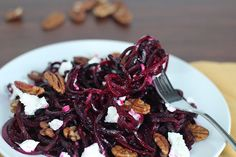 Roasted Beet Noodles with Goat Cheese and Pecans...I don't have a spiralizer, will try diced beets