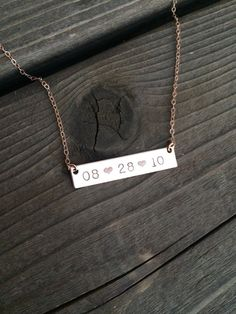 Rose Gold New Mommy Necklace with baby's birthdate | Date Bar Necklace