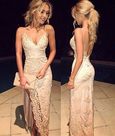 New Arrival unique v neck backless lace long prom dress, evening dress