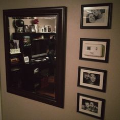 I bought a frame (actually from dollar tree and removed the glass and placed… Living Room Redo, Home Living Room, Decorating Ideas, Craft Ideas, Decor Ideas, Dollar Tree Frames, Picture Shelves, Hanging Photos, Wall Fixtures