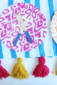 DIY Picnic Blanket or Throw with Tassels