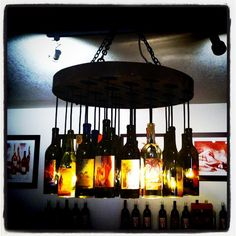 Artiste Winery upcycled bottle chandelier
