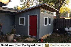 10x12 modern shed front elevation More