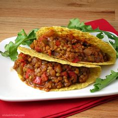 Lentil Tacos, made this last night for dinner...while I was home alone with a 1 and 3.5 year old...it was so easy and so good!  Everyone loved it which is a rare find.