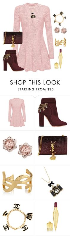 """""""Girly girl"""" by ellenfischerbeauty ❤ liked on Polyvore featuring Aquazzura, Yves Saint Laurent, Betsey Johnson, Chanel and Christian Louboutin"""