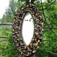 Handmade Gold and Green Oval Mosaic Mirror. $450.00, via Etsy.