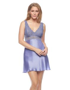 004701c730 Purple silk Chemises - Morgan Iconic Bust-Support Silk Chemise in  Periwinkle Silk Nightgown