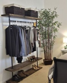 nice 48 DIY Hanging Copper Pipe Clothing Rack Ideas