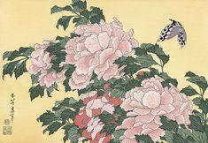 牡丹に蝶|葛飾北斎|北斎花鳥画集