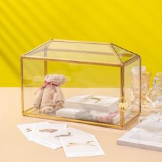 Standard Large Geometric Glass Card Box Terrarium with Slot gold large Terrarium Containers, Glass Terrarium, Terrariums, Terrarium Ideas, Planter Ideas, Small Potted Plants, Thanks Card, Rose Gold Pink, Card Box Wedding