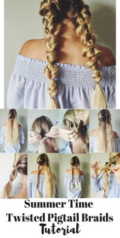 With this pull through braid hair tutorial you will add something new to your look. Easy Summertime Hair Style // Braided Hairstyles for long hair // Pull Through Braid Tutorial // Hairstyles for Women // Beachy braid look // Pigtails for women // Pigtail Hairstyles, Pigtail Braids, Braided Hairstyles Tutorials, Twist Braids, Summer Hairstyles, Braided Pigtails, Modern Hairstyles, Braid Tutorials, Pretty Hairstyles