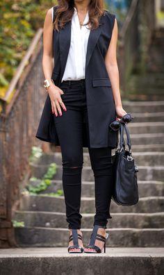 Veste sans manches, manteau sans manches, jean noir destroy, casual chic look, look décontracté chic, look noir et blanc, black and white look, fashion style, fashion inspiration, autumn look