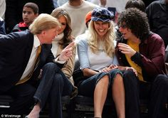 Donald Trump has engaged in lewd conversations with Howard Stern on his show over a 17-year period. Above Trump and Stern are pictured together at a 2005 basketball game with Melania Trump and Stern's wife Beth Ostrosky