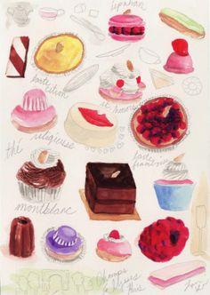Paris Pastry Dessert Delights - ORIGINAL Watercolor Painting - Macaron, Cupcake, Eclair, Petit Four - 5 x 7